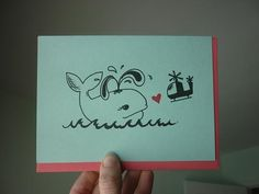 Valentine Card  Whale Love Card Gocco  Love at by papermichelle, $4.00