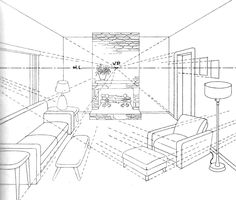 Finished Drawing of Living Room with Couches, Lamps, Coffee Tables, Chair, Ottoman, and Firplace