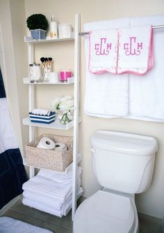 Progress Peeks Our New House The Zhush Monograms House And - Monogrammed hand towels for small bathroom ideas