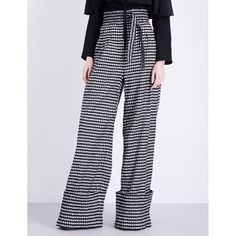 Rosie Assoulin Gingham-print high-rise woven trousers ($1,975) ❤ liked on Polyvore featuring pants, cuffed pants, wide-leg trousers, high rise pants, straight pants and high waisted pants