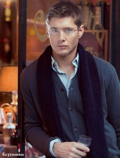 Jensen Ackles, in glasses, and a cardigan, with a scarf. I can't even brain right now.  NEW BOARDS COMING UP! PLEASE FOLLOW!