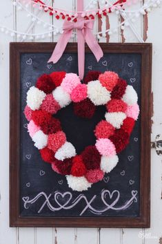 Pom Pom Heart Wreath Tutorial