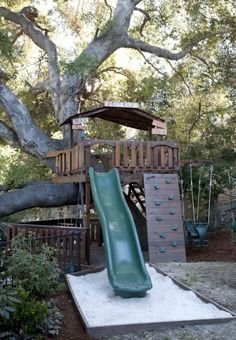 What a fab tree house jungle gym /landscape by Stout Landscape Design-Build Backyard Playground, Backyard For Kids, Backyard Fences, Backyard Ideas, Toddler Playground, Garden Kids, Cubby Houses, Play Houses, Tree House Designs