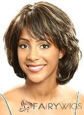 Attractive Short Wavy Brown Side Bang African American Wigs for Women 12 Inch