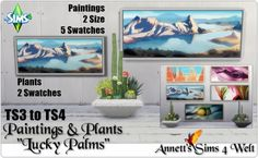 """Annett`s Sims 4 Welt: Conversion Paintings and Plants """"Lucky Palms"""" • Sims 4 Downloads"""