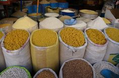 Fez Morocco. Pasta and Grains in the Fez Medina.  www.exoticnomadictravel.com