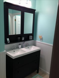 I love this Hemnes sink cabinet and mirror cabinet combo.  We would have 2 sets of these with one sink per cabinet in ours.