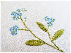 Hand embroidery in hoop Wall Art Forget Me by KawaiiSakuraHandmade