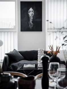 An eclectic studio in black and white hues