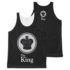 The King Black All-Over Print Tank Top Tank Tops