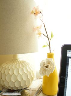 Spring Vase {Anthropologie knock-off} - Up to Date Interiors (Make this using an empty bottle and left over paint!)