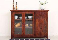 Buy Bago Kitchen Cabinet (Teak Finish) Online in India - Wooden Street Kitchen Cabinets Models, Solid Wood Kitchen Cabinets, Solid Wood Kitchens, Kitchen Cupboards, Crockery Cabinet, Crockery Units, Wooden Street