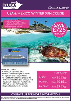 Fab Deal with RCI - inc 1ngt pre-cruise Miami from just £875 pp FB ,why not extend the holiday with Orlando?? Call for details 0800 975 7584