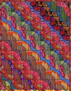 Kaffe Fassett, Drunkards Path block.  Not sure if he designed this or someone else.