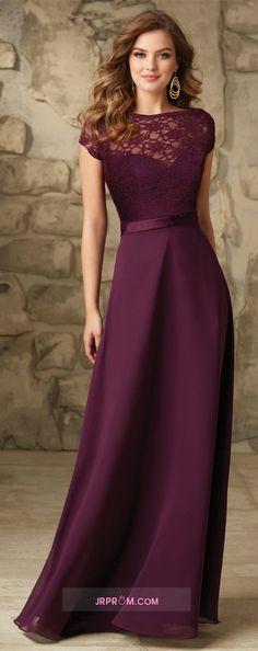 Cap Sleeve Chiffon & Lace Bridesmaid Dresses A-Line Floor-Length Item Code:#JRP5GE4QZJ