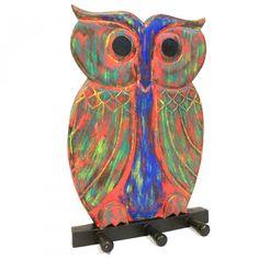 Dochsa Wooden Coat Hanger - Owl Multicolour https://dochsa.com
