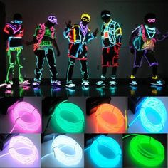 10 Color Flexible Neon Light Glow El Wire Rope Tube Car Dance Party Controller | eBay. Great idea for a Halloween costume!