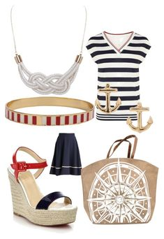 Nautical inspired preppy sailor outfit women's fashion wardrobe ideas and inspiration by kdr007 on Polyvore featuring polyvore, fashion, style, Karen Millen, Christian Louboutin, Mud Pie, Gorjana, Humble Chic, BP. and clothing