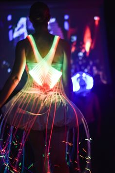 "Danielle Man X Natalie Walsh, ""Instructables Fiber Optic Dress,"" Silicon Valley Fashion Week 2015"