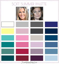 Best colors for Soft Summer seasonal women; Soft Summer color palette | #SoftSummer #colorpalette