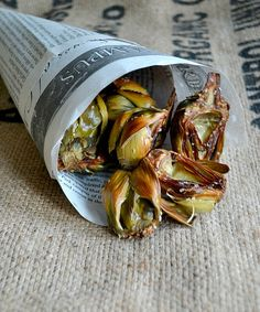 Sea salt roasted baby artichokes.