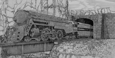 New York Central Railroad. Pen and ink drawing.