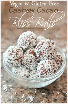 Packed with protein and made with the super food cacao, these Vegan Cashew Cacao Bliss Balls are the perfect energy packed, sweet, healthy treat! Healthy Sweets, Healthy Dessert Recipes, Gluten Free Desserts, Vegan Desserts, Healthy Snacks, Vegan Recipes, Snack Recipes, Healthy Eating, Delicious Recipes