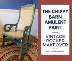 Vintage rocking chair makeover with a fresh coat of The Chippy Barn Amulent Paint and new pressed cane chair and seat @thechippybarn Old Rocking Chairs, Vintage Rocking Chair, Vintage Chairs, Rocking Chair Makeover, Antique Furniture Restoration, Patio Side Table, Vintage Telephone, Small Patio, Paint Cans