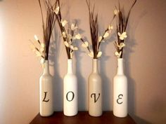 Brides who are looking to add eco-friendly decorations to their wedding ceremony or reception should consider recycled wine bottle decor. You would be amazed at how functional and stylish wine bottle decorations can be. Empty Wine Bottles, Recycled Wine Bottles, Wine Bottle Art, Painted Wine Bottles, Diy Bottle, Wine Bottle Crafts, Decorative Wine Bottles, Glass Bottles, Crafts With Wine Bottles