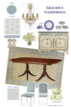 Decorating a gracious traditional dining room with aqua blue walls, wainscoting, french provincial details, and luxury fabrics. Check out my mood board on penderandpeony.com