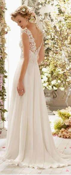 Elegant lace v neck back beach wedding dress