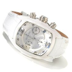 """My new watch! Lupah Revolution from Invicta! The rounded rectangular white ceramic case displays a domed magnified Flame Fusion crystal with a triple layer of anti-reflective coating.  The rounded rectangular sunray silver-tone dial displays raised round index markers in all hour positions with the exception of the quarter hours. Raised silver-tone Arabic numerals display at 12:00 and 6:00. """"INVICTA"""" and the logo appear below 12:00 and a date window displays near 4:00. A seconds subdial…"""