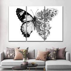 Butterfly In Bloom will easily beautify any room. Bring this stunning art of your favorite animal into your home to set a positive tone to the entire space. Wall Art Sets, Wall Art Decor, Wall Art Bedroom, Bedroom Canvas, Bedroom Paintings, Cool Wall Art, Wall Paintings, Home Decor Paintings, Wall Decorations
