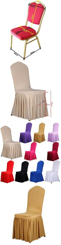 1 x Soulfeel Long Stretch Spandex Dining Chair Cover Protectors, Super Fit Banquet Chair Seat Slipcovers for Hotel and Wedding Ceremony, Removable & Washable (Gold)