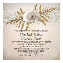 Lace Holiday Winter Wedding Invite