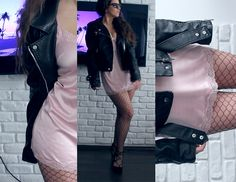 Get this look: http://lb.nu/look/8601123  More looks by Velvetindustry: http://lb.nu/velvetindustry  Items in this look:  Ppz Silver Pink Satin Night Dress, Bershka Biker Jacket   #90s #grunge #minimal #fishnet #bikerjacket #satin