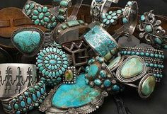Turquoise bracelets, rings and pendants