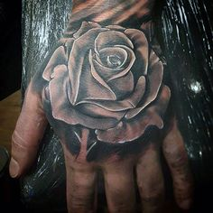 Best Rose Tattoos For Men - Hand Tattoo Designs and Ideas For Guys - Tattoos on neck - Tattoo 3d Flower Tattoos, Flower Tattoo Hand, Black And White Rose Tattoo, Black Rose Tattoos, Black Roses, White Ink, Neck Tattoo For Guys, Hand Tattoos For Guys, Best Neck Tattoos