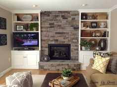Along with every other space in our house, our family room is a room in progress but it's come a long way since the day we moved in: I've already blogged about several projects we tackled in our family room, includingpainting the bookcases and adding new knobs and trim, havingstone veneer installed on our fireplace, …