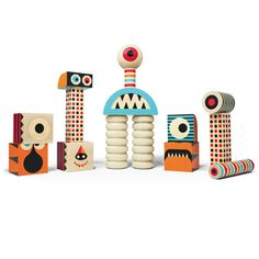 Stack and Scare : Roar Set 2 - Stack and create your own monsters with this 15 piece set! Featuring large beaded dowels, striped dowels, sphere eyeball, monster heads, hands, feet, patterns and much more. Mix and match shapes or combine with other Stack And Scare� sets to unleash endless creature combinations! Crafted from FSC certified basswood, non-toxic inks and made right here in the U.S.A.