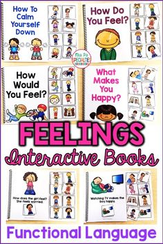 Help students develop the language associated with feelings as well as coping skills with these interactive books. These adapted books are perfect for helping students to identify feelings and come up with strategies of how to deal with their feelings. This set is ideal for students in special education, life skills programs, hands on learners, speech therapy, preschool programs and more!