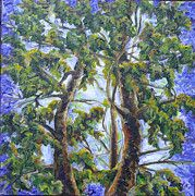 Three Trees, Oil on canvas (http://www.facebook.com/SnejanaArt) $155 and up; Commission an Original Oil/Acr. painting, Bold Happy Oil Painting, Made to Order