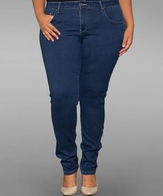 Look what I found on #zulily! Dark Blue Skinny Jeans - Plus by Sealed With a Kiss Designs #zulilyfinds