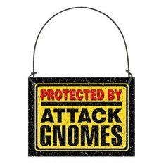 DECO Mini Fun Sign PROTECTED BY ATTACK GNOMES Wood Ornament Caution Gag Gift   #DecorativeGreetingsInc