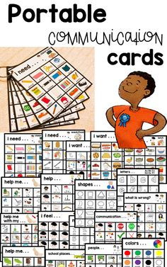 Autism and Speech Portable Visual Communication Cards. Speech Language Pathology, Speech And Language, Speech Therapy Activities, Learning Activities, Pecs Communication, Autism Education, Special Education, School Places, School Psychology