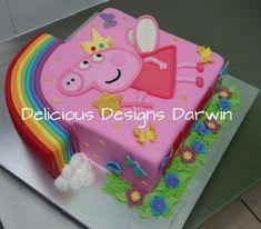 rainbow peppa pig cake - Cake by Delicious Designs Darwin Peppa Pig Birthday Cake, Birthday Cake Girls, Birthday Ideas, 3rd Birthday, Tortas Peppa Pig, Zoe Cake, Aniversario Peppa Pig, Pig Party, No Cook Desserts