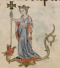 Detail from The Luttrell Psalter, British Library Add MS 42130 (medieval Medieval Books, Medieval Manuscript, Medieval Art, Renaissance Art, Illuminated Manuscript, Statues, Medieval Paintings, St Margaret, Book Of Kells