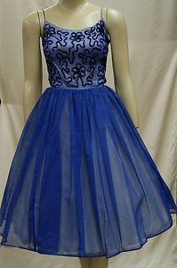Vintage 1950's 50s Perriwinkle Blue Chiffon Sequin Cocktail Party Prom Dress | eBay