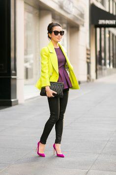 Neon green blazer/coat + plum/purple/grape peplum top + black bottoms + magenta pumps