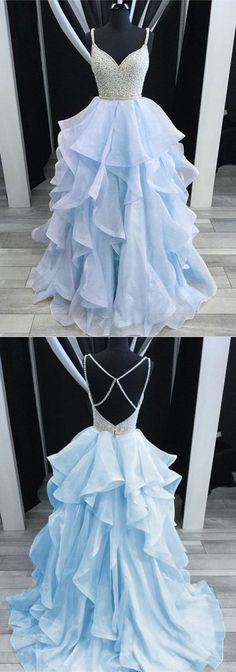 Light blue tulle open back long beaded spaghetti straps ruffles prom dress #prom #dress #promdress #promdresses